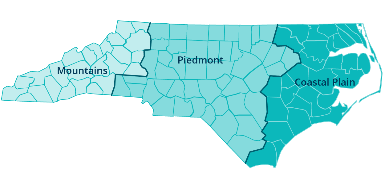 North Carolina region map